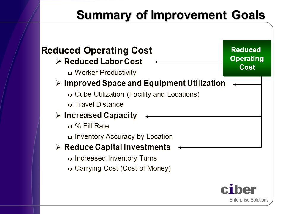 Summary of Improvement Goals Reduced Operating Cost ØReduced Labor Cost wWorker Productivity ØImproved Space and Equipment Utilization wCube Utilization (Facility and Locations) wTravel Distance ØIncreased Capacity w% Fill Rate wInventory Accuracy by Location ØReduce Capital Investments wIncreased Inventory Turns wCarrying Cost (Cost of Money) Reduced Operating Cost ØReduced Labor Cost wWorker Productivity ØImproved Space and Equipment Utilization wCube Utilization (Facility and Locations) wTravel Distance ØIncreased Capacity w% Fill Rate wInventory Accuracy by Location ØReduce Capital Investments wIncreased Inventory Turns wCarrying Cost (Cost of Money) Reduced Operating Cost