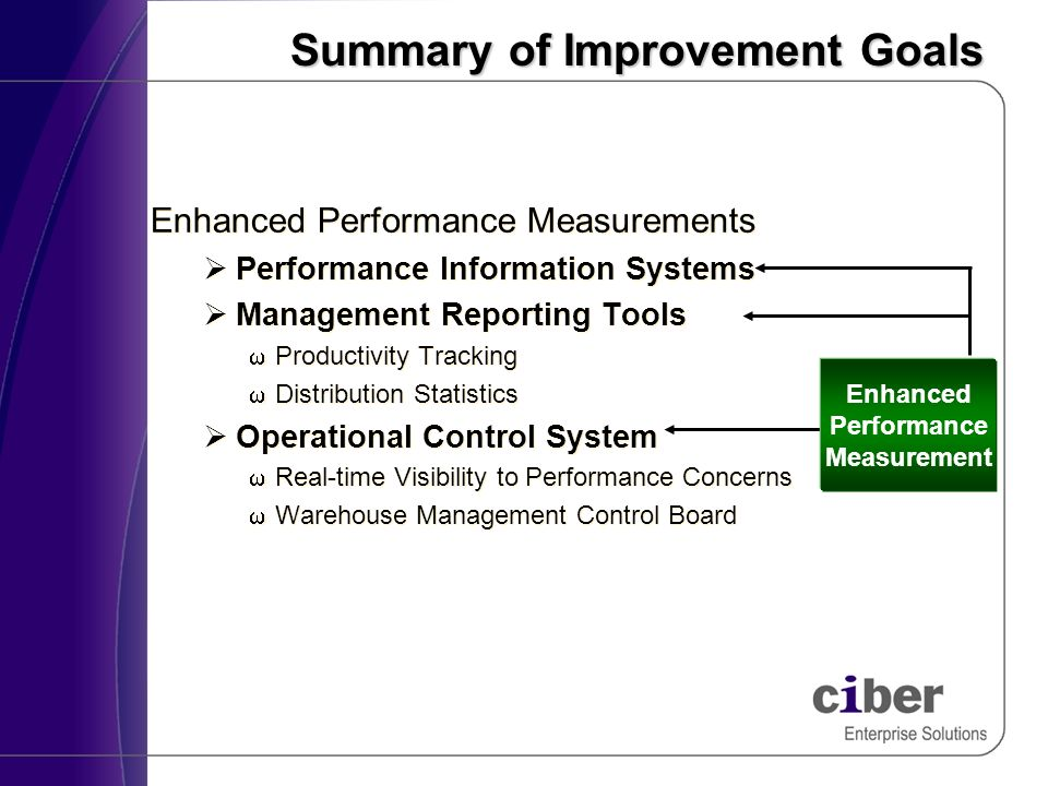 Summary of Improvement Goals Enhanced Performance Measurements Performance Information Systems Management Reporting Tools Productivity Tracking Distribution Statistics Operational Control System Real-time Visibility to Performance Concerns Warehouse Management Control Board Enhanced Performance Measurements Performance Information Systems Management Reporting Tools Productivity Tracking Distribution Statistics Operational Control System Real-time Visibility to Performance Concerns Warehouse Management Control Board Enhanced Performance Measurement