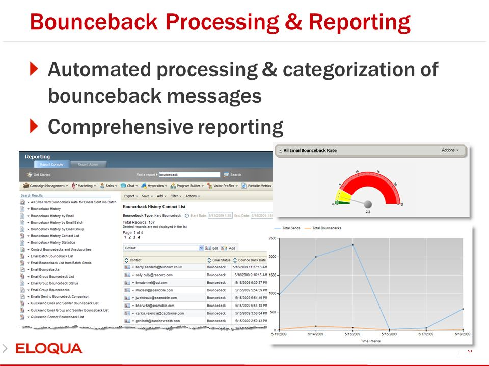 Bounceback Processing & Reporting Automated processing & categorization of bounceback messages Comprehensive reporting 6