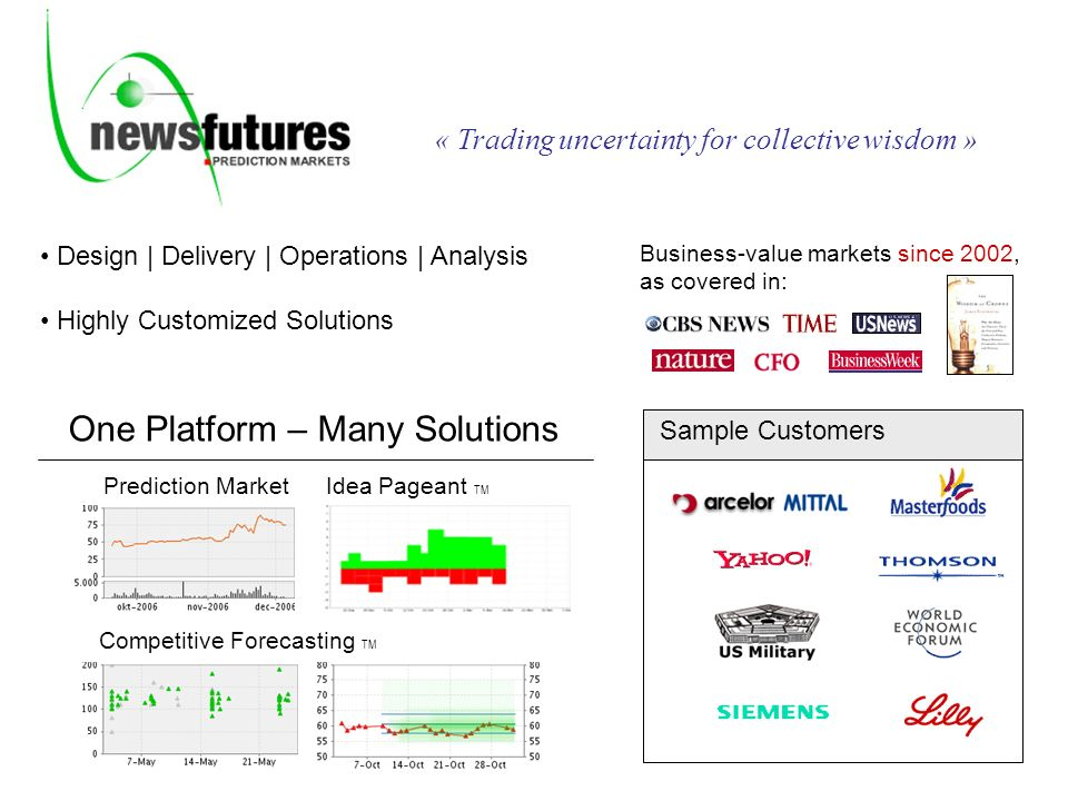 Design | Delivery | Operations | Analysis Highly Customized Solutions Business-value markets since 2002, as covered in: Sample Customers « Trading uncertainty for collective wisdom » Prediction Market Competitive Forecasting TM Idea Pageant TM One Platform – Many Solutions