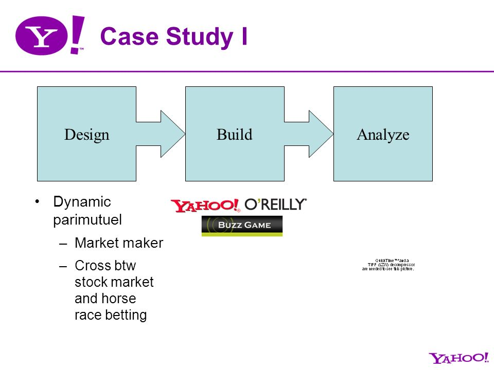 Case Study I Design Analyze Dynamic parimutuel –Market maker –Cross btw stock market and horse race betting Build