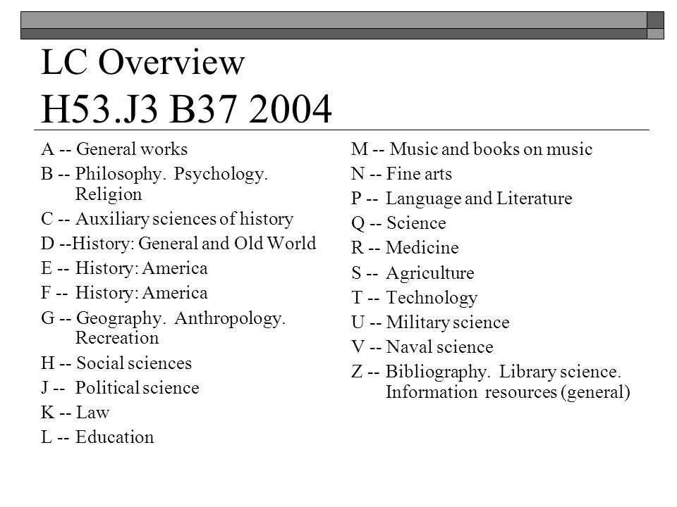 LC Overview H53.J3 B37 2004 A -- General works B -- Philosophy.