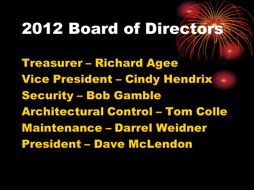 Treasurer – Richard Agee Vice President – Cindy Hendrix Security – Bob Gamble Architectural Control – Tom Colle Maintenance – Darrel Weidner President – Dave McLendon
