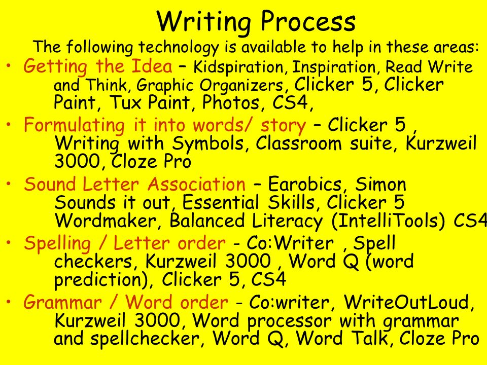 Writing Process The following technology is available to help in these areas: Getting the Idea – Kidspiration, Inspiration, Read Write and Think, Graphic Organizers, Clicker 5, Clicker Paint, Tux Paint, Photos, CS4, Formulating it into words/ story – Clicker 5, Writing with Symbols, Classroom suite, Kurzweil 3000, Cloze Pro Sound Letter Association – Earobics, Simon Sounds it out, Essential Skills, Clicker 5 Wordmaker, Balanced Literacy (IntelliTools) CS4 Spelling / Letter order - Co:Writer, Spell checkers, Kurzweil 3000, Word Q (word prediction), Clicker 5, CS4 Grammar / Word order - Co:writer, WriteOutLoud, Kurzweil 3000, Word processor with grammar and spellchecker, Word Q, Word Talk, Cloze Pro
