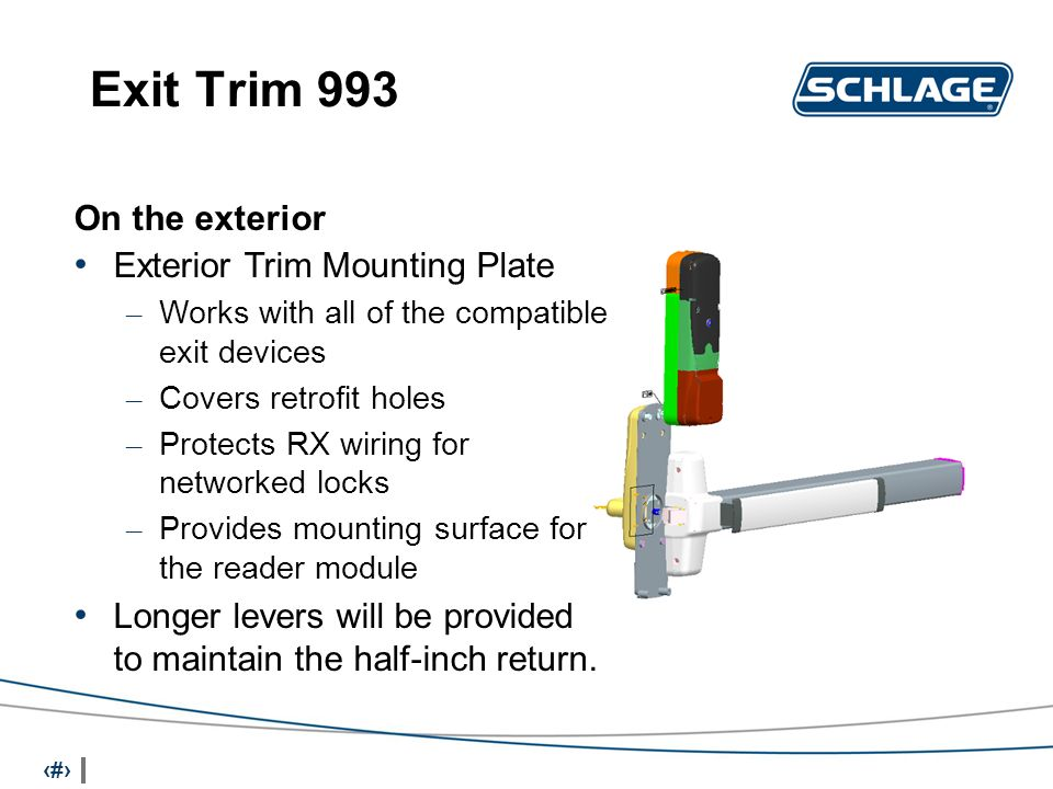14 Exit Trim 993 On the exterior Exterior Trim Mounting Plate – Works with all of the compatible exit devices – Covers retrofit holes – Protects RX wiring for networked locks – Provides mounting surface for the reader module Longer levers will be provided to maintain the half-inch return.