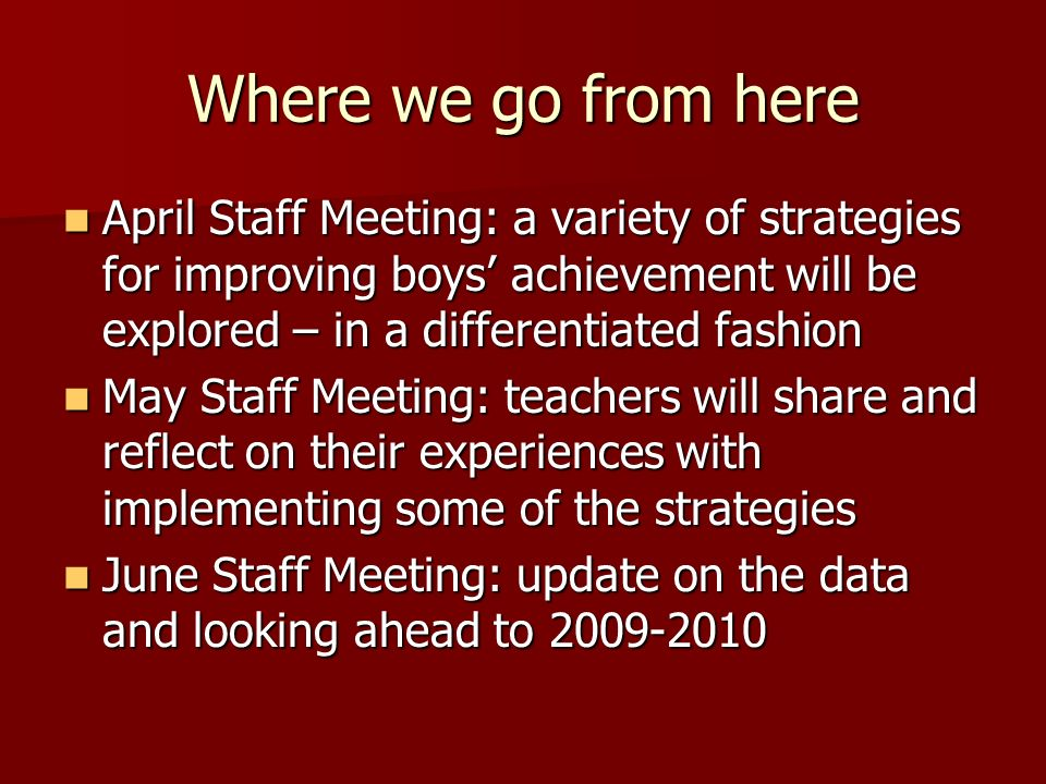 Where we go from here April Staff Meeting: a variety of strategies for improving boys achievement will be explored – in a differentiated fashion April Staff Meeting: a variety of strategies for improving boys achievement will be explored – in a differentiated fashion May Staff Meeting: teachers will share and reflect on their experiences with implementing some of the strategies May Staff Meeting: teachers will share and reflect on their experiences with implementing some of the strategies June Staff Meeting: update on the data and looking ahead to June Staff Meeting: update on the data and looking ahead to