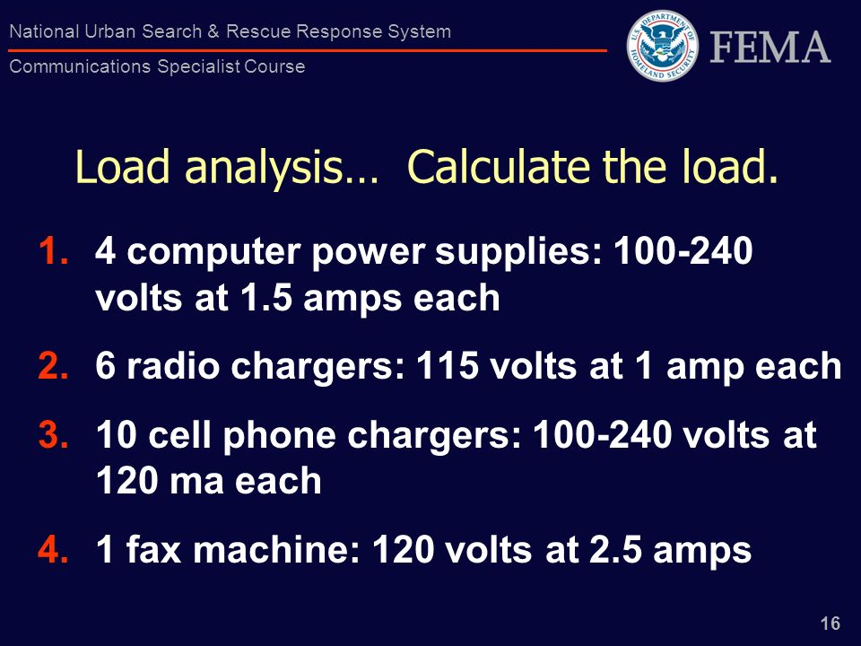 16 National Urban Search & Rescue Response System Communications Specialist Course Load analysis… Calculate the load.