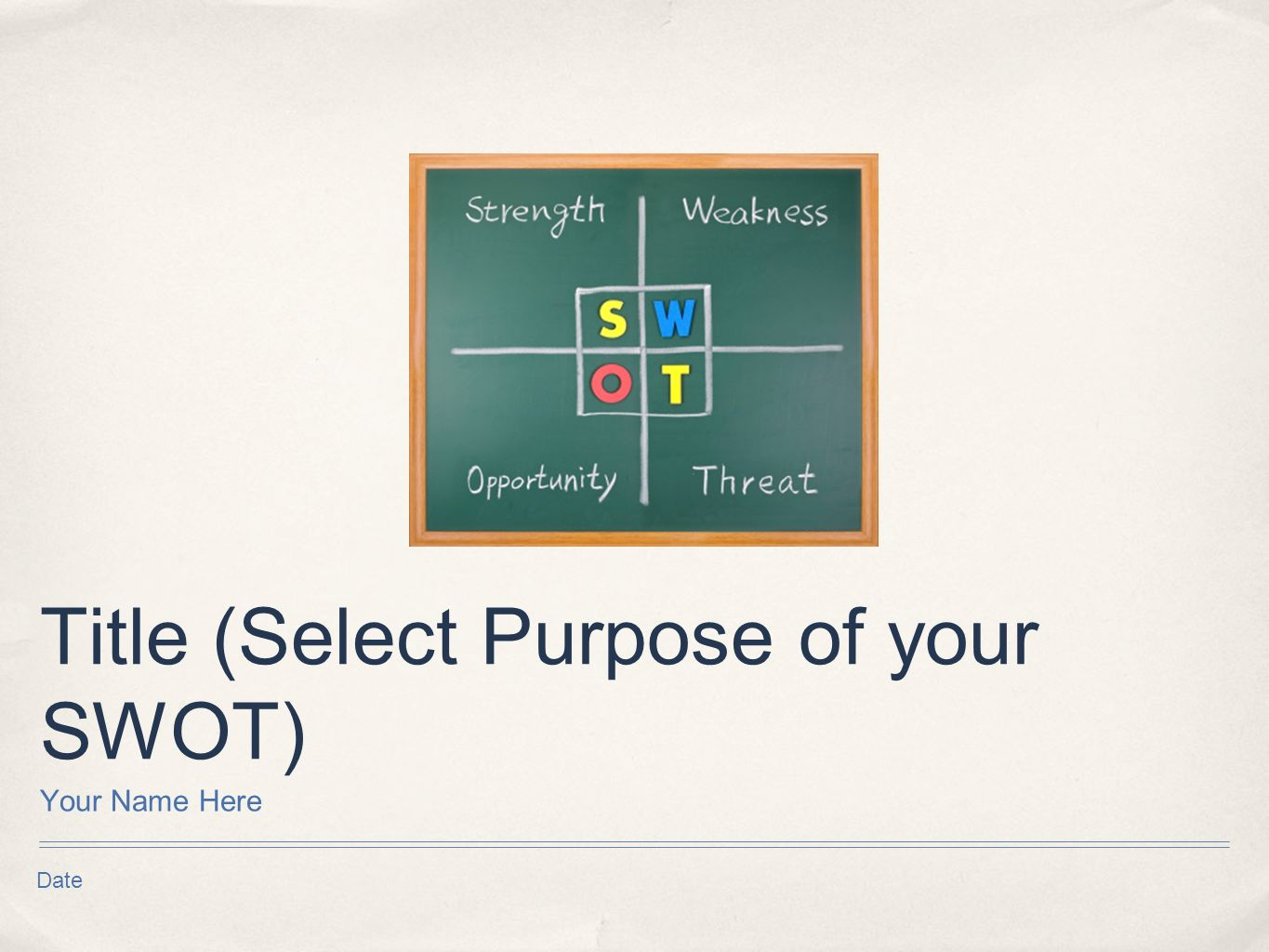 Date Title (Select Purpose of your SWOT) Your Name Here