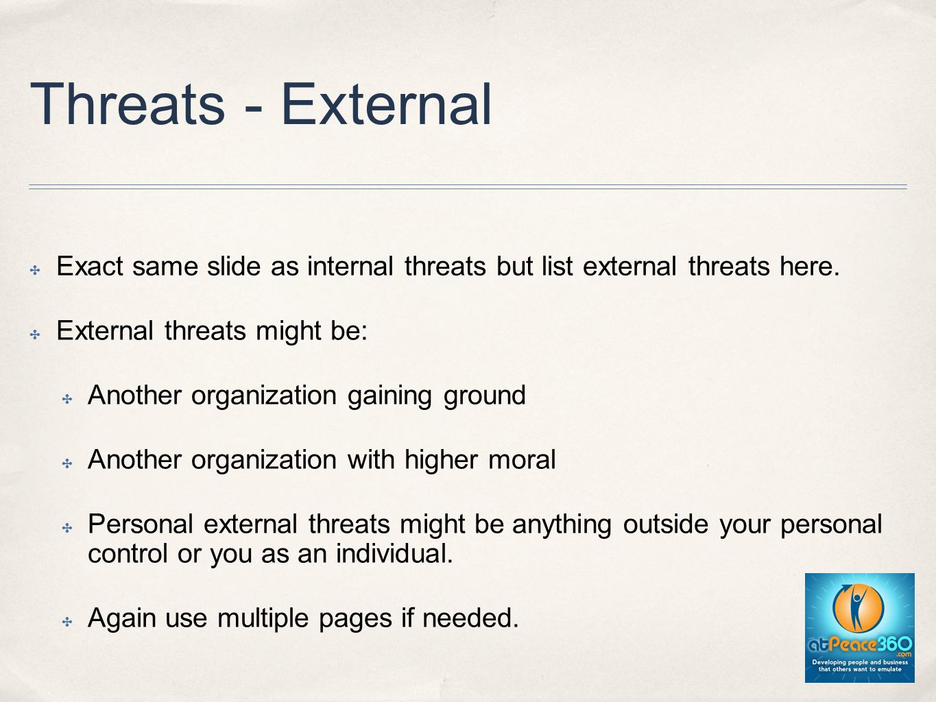 Threats - External Exact same slide as internal threats but list external threats here.