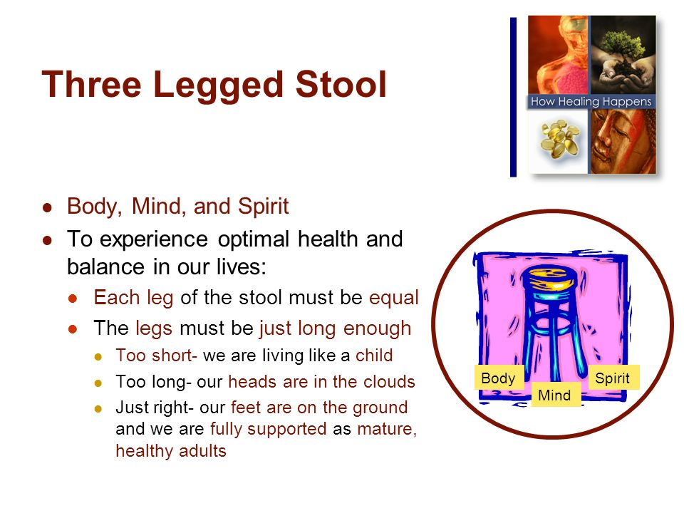 Three Legged Stool Body, Mind, and Spirit To experience optimal health and balance in our lives: Each leg of the stool must be equal The legs must be just long enough Too short- we are living like a child Too long- our heads are in the clouds Just right- our feet are on the ground and we are fully supported as mature, healthy adults Body Mind Spirit