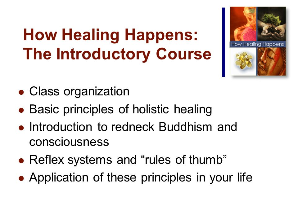 How Healing Happens: The Introductory Course Class organization Basic principles of holistic healing Introduction to redneck Buddhism and consciousness Reflex systems and rules of thumb Application of these principles in your life