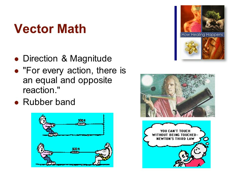Vector Math Direction & Magnitude For every action, there is an equal and opposite reaction. Rubber band