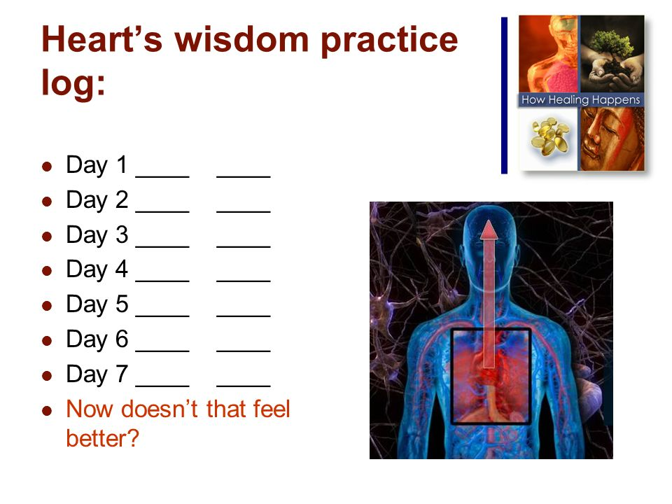Hearts wisdom practice log: Day 1 ____ ____ Day 2 ____ ____ Day 3 ____ ____ Day 4 ____ ____ Day 5 ____ ____ Day 6 ____ ____ Day 7 ____ ____ Now doesnt that feel better
