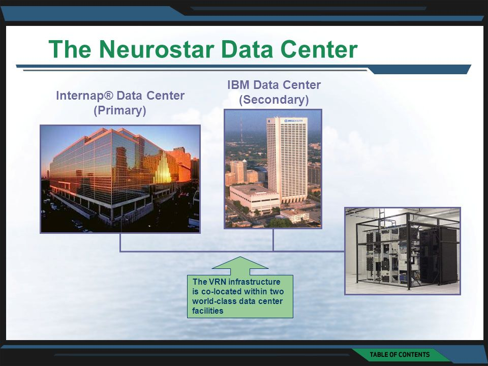 IBM Data Center (Secondary) Internap® Data Center (Primary) The VRN infrastructure is co-located within two world-class data center facilities The Neurostar Data Center