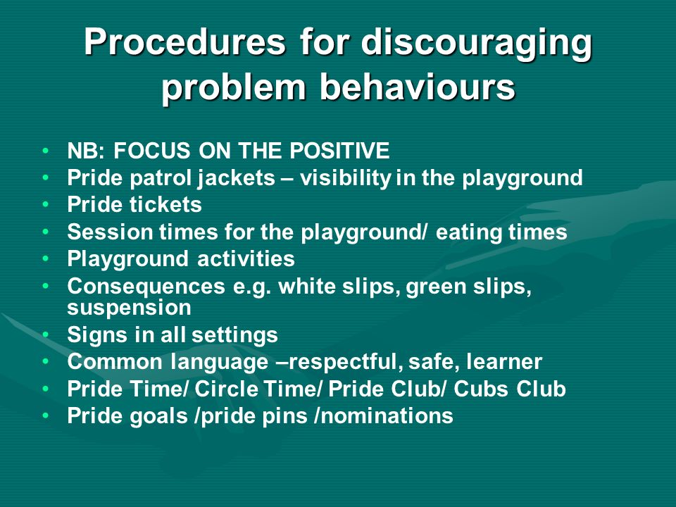 Procedures for discouraging problem behaviours NB: FOCUS ON THE POSITIVE Pride patrol jackets – visibility in the playground Pride tickets Session times for the playground/ eating times Playground activities Consequences e.g.