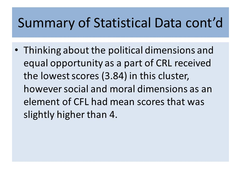 Summary of Statistical Data contd Thinking about the political dimensions and equal opportunity as a part of CRL received the lowest scores (3.84) in this cluster, however social and moral dimensions as an element of CFL had mean scores that was slightly higher than 4.