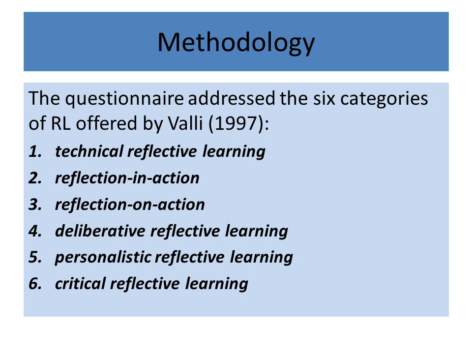 Methodology The questionnaire addressed the six categories of RL offered by Valli (1997): 1.technical reflective learning 2.reflection-in-action 3.reflection-on-action 4.deliberative reflective learning 5.personalistic reflective learning 6.critical reflective learning