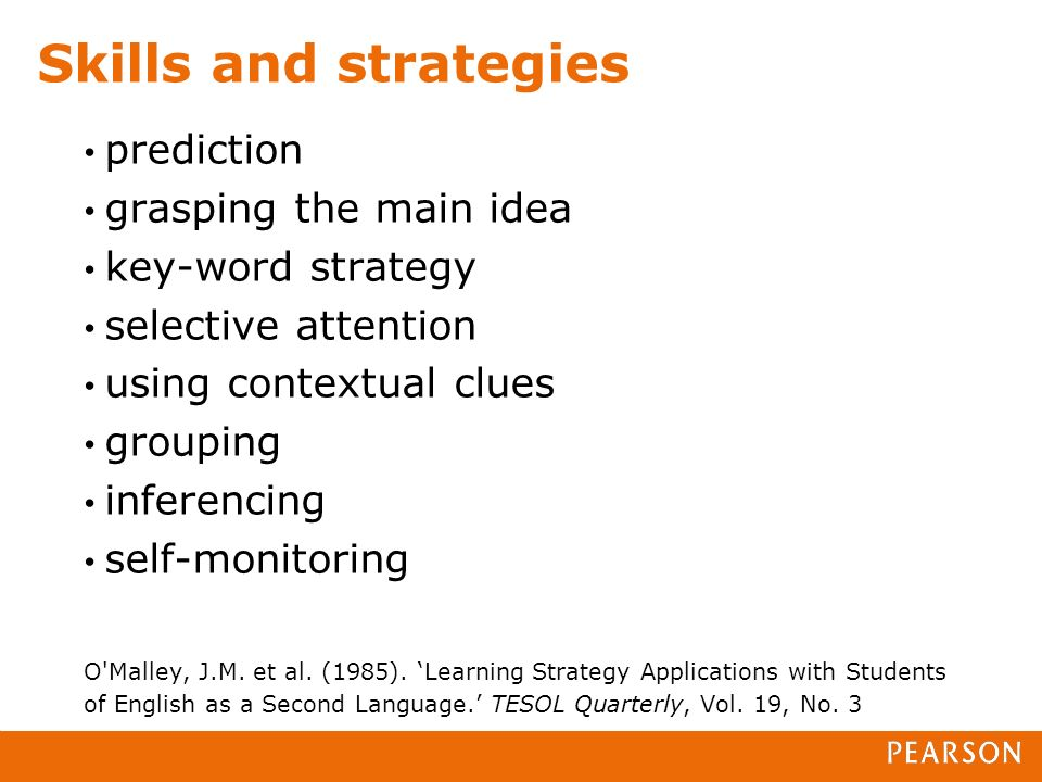 prediction grasping the main idea key-word strategy selective attention using contextual clues grouping inferencing self-monitoring O Malley, J.M.
