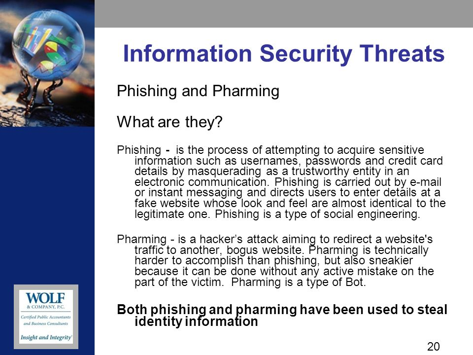 20 Information Security Threats Phishing and Pharming What are they.