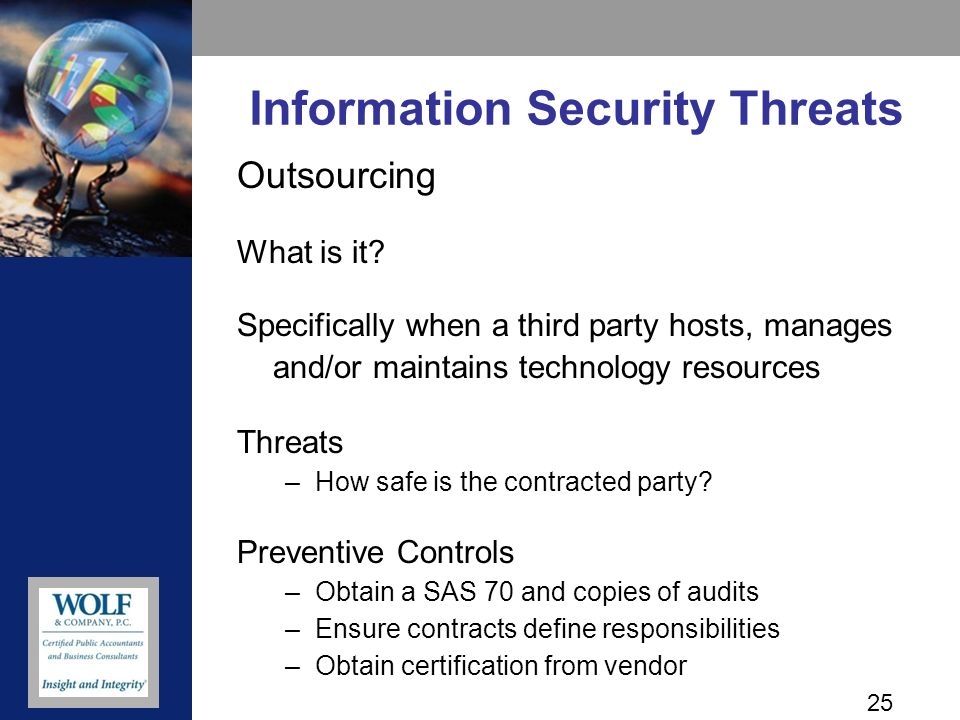 25 Information Security Threats Outsourcing What is it.