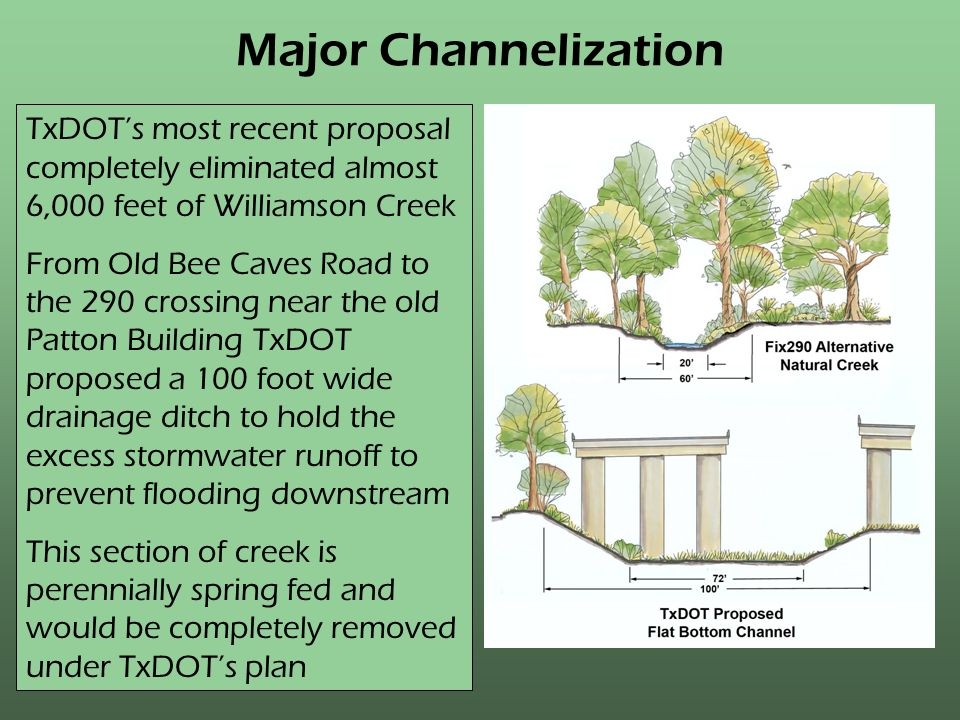 Major Channelization TxDOTs most recent proposal completely eliminated almost 6,000 feet of Williamson Creek From Old Bee Caves Road to the 290 crossing near the old Patton Building TxDOT proposed a 100 foot wide drainage ditch to hold the excess stormwater runoff to prevent flooding downstream This section of creek is perennially spring fed and would be completely removed under TxDOTs plan
