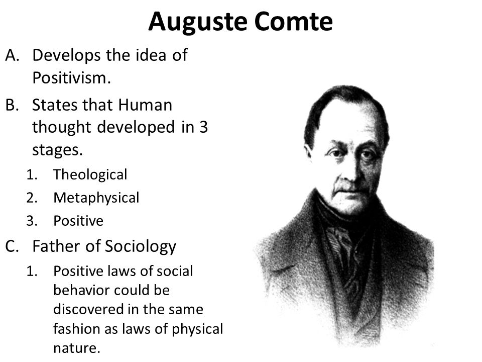 Auguste Comte A.Develops the idea of Positivism. B.States that Human thought developed in 3 stages.