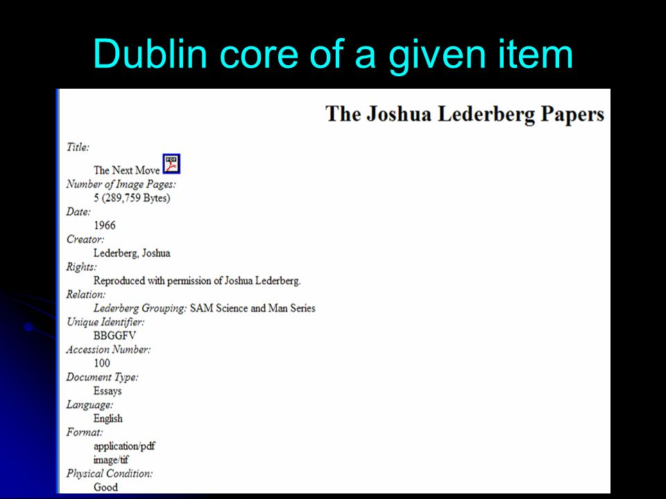 Dublin core of a given item