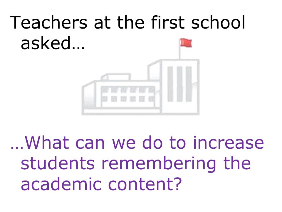 Teachers at the first school asked… …What can we do to increase students remembering the academic content