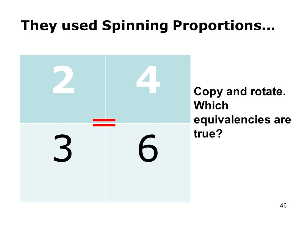 They used Spinning Proportions… 13 26 46 Copy and rotate. Which equivalencies are true 24 36