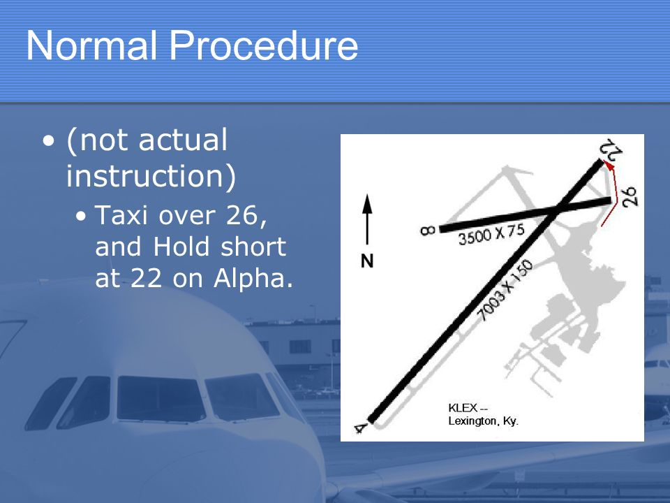 Normal Procedure (not actual instruction) Taxi over 26, and Hold short at 22 on Alpha.