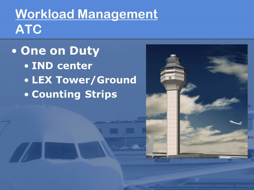 Workload Management ATC One on Duty IND center LEX Tower/Ground Counting Strips