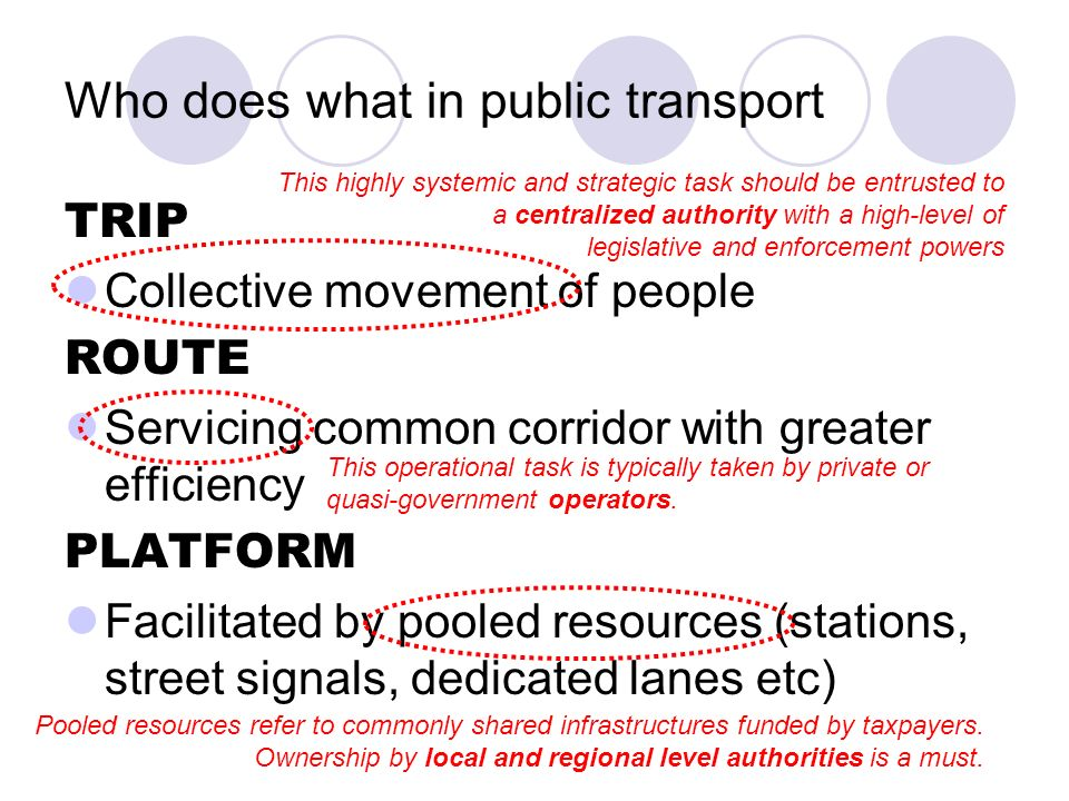 Who does what in public transport TRIP Collective movement of people ROUTE Servicing common corridor with greater efficiency PLATFORM Facilitated by pooled resources (stations, street signals, dedicated lanes etc) This highly systemic and strategic task should be entrusted to a centralized authority with a high-level of legislative and enforcement powers This operational task is typically taken by private or quasi-government operators.