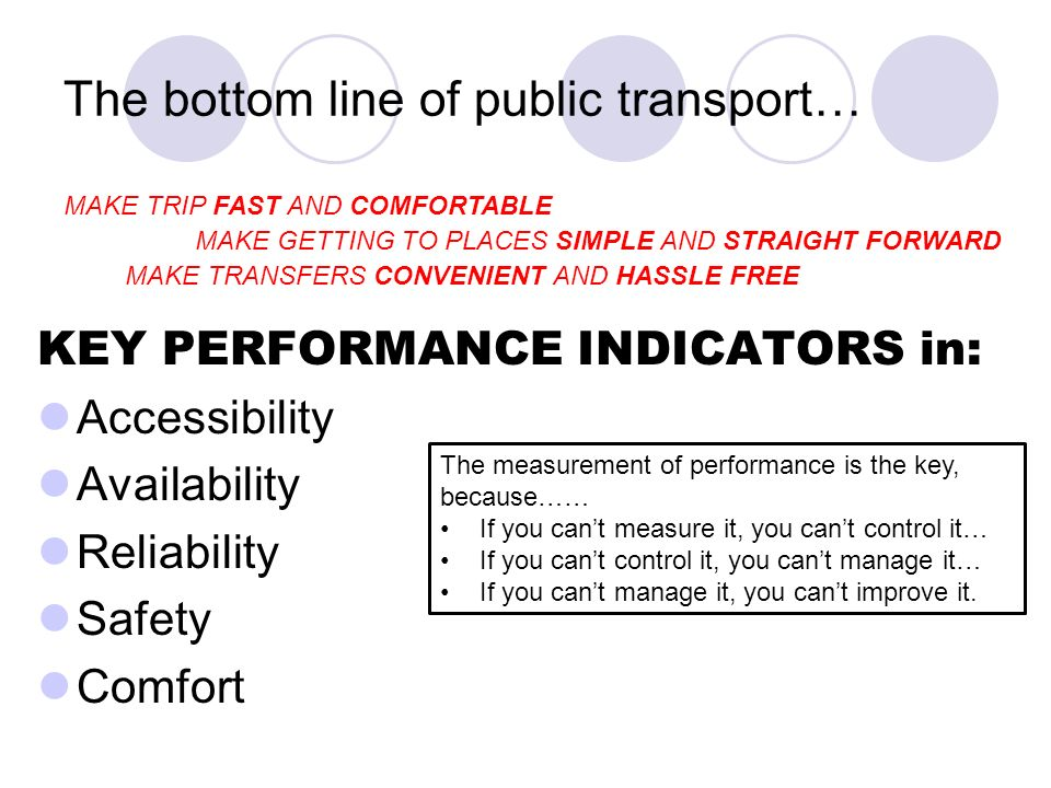 The bottom line of public transport… KEY PERFORMANCE INDICATORS in: Accessibility Availability Reliability Safety Comfort The measurement of performance is the key, because…… If you cant measure it, you cant control it… If you cant control it, you cant manage it… If you cant manage it, you cant improve it.