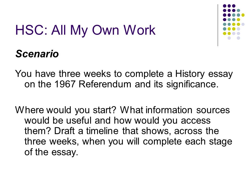 HSC: All My Own Work Scenario You have three weeks to complete a History essay on the 1967 Referendum and its significance.