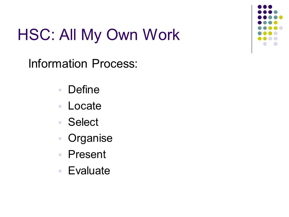 HSC: All My Own Work Information Process: Define Locate Select Organise Present Evaluate