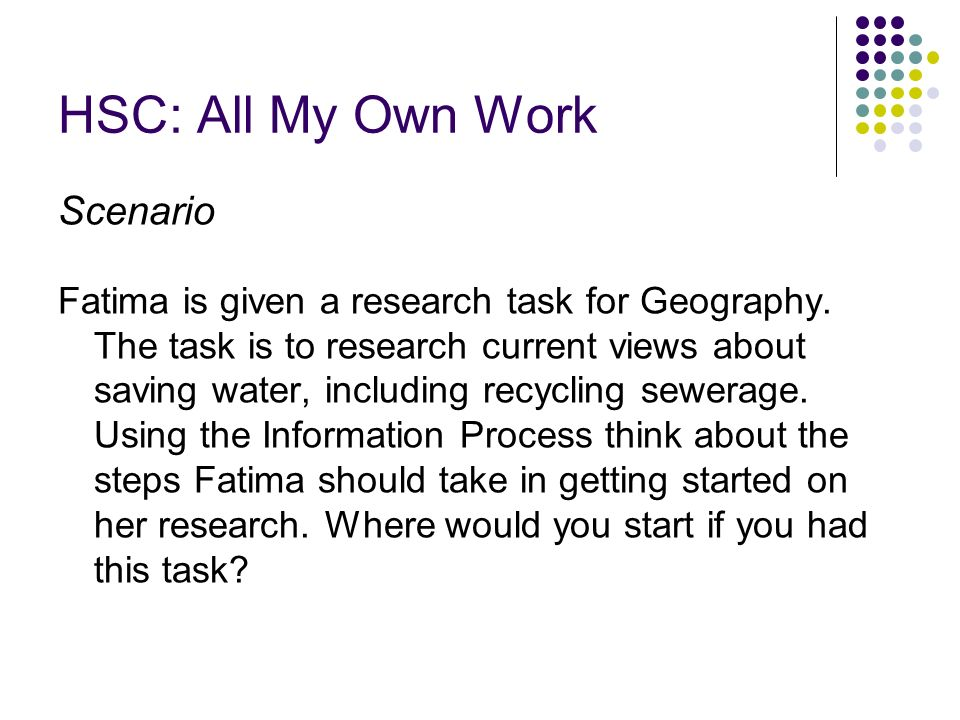HSC: All My Own Work Scenario Fatima is given a research task for Geography.