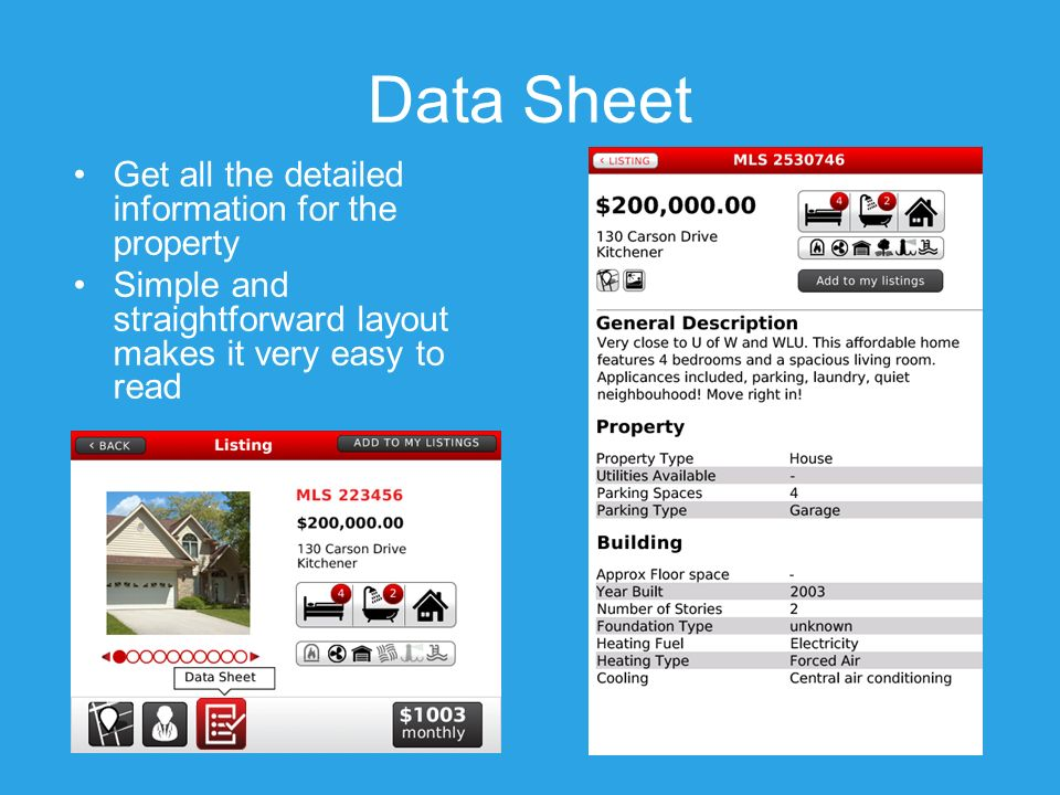 Data Sheet Get all the detailed information for the property Simple and straightforward layout makes it very easy to read