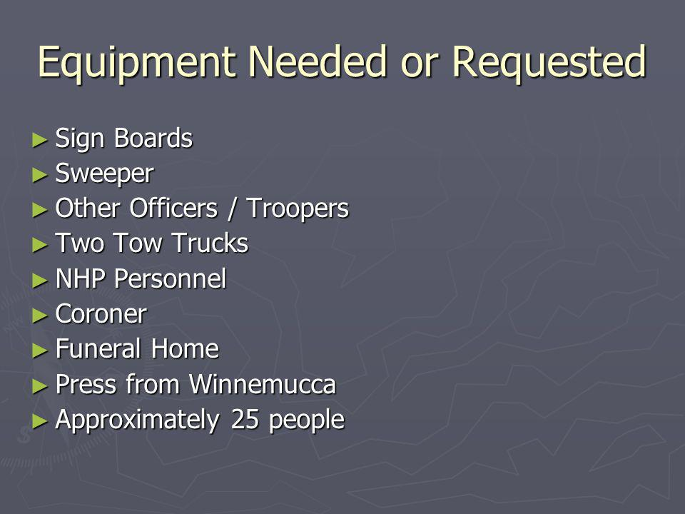 Equipment Needed or Requested Sign Boards Sign Boards Sweeper Sweeper Other Officers / Troopers Other Officers / Troopers Two Tow Trucks Two Tow Trucks NHP Personnel NHP Personnel Coroner Coroner Funeral Home Funeral Home Press from Winnemucca Press from Winnemucca Approximately 25 people Approximately 25 people