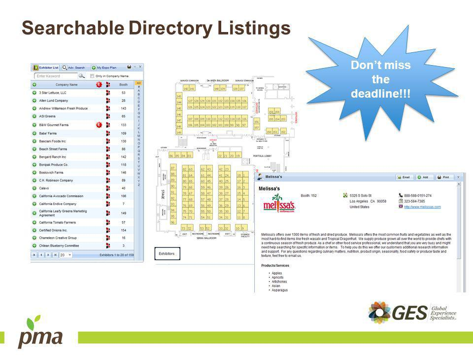 Searchable Directory Listings Dont miss the deadline!!!
