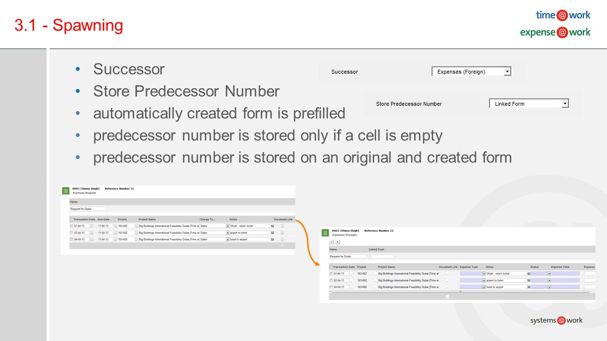 3.1 - Spawning Successor Store Predecessor Number automatically created form is prefilled predecessor number is stored only if a cell is empty predecessor number is stored on an original and created form