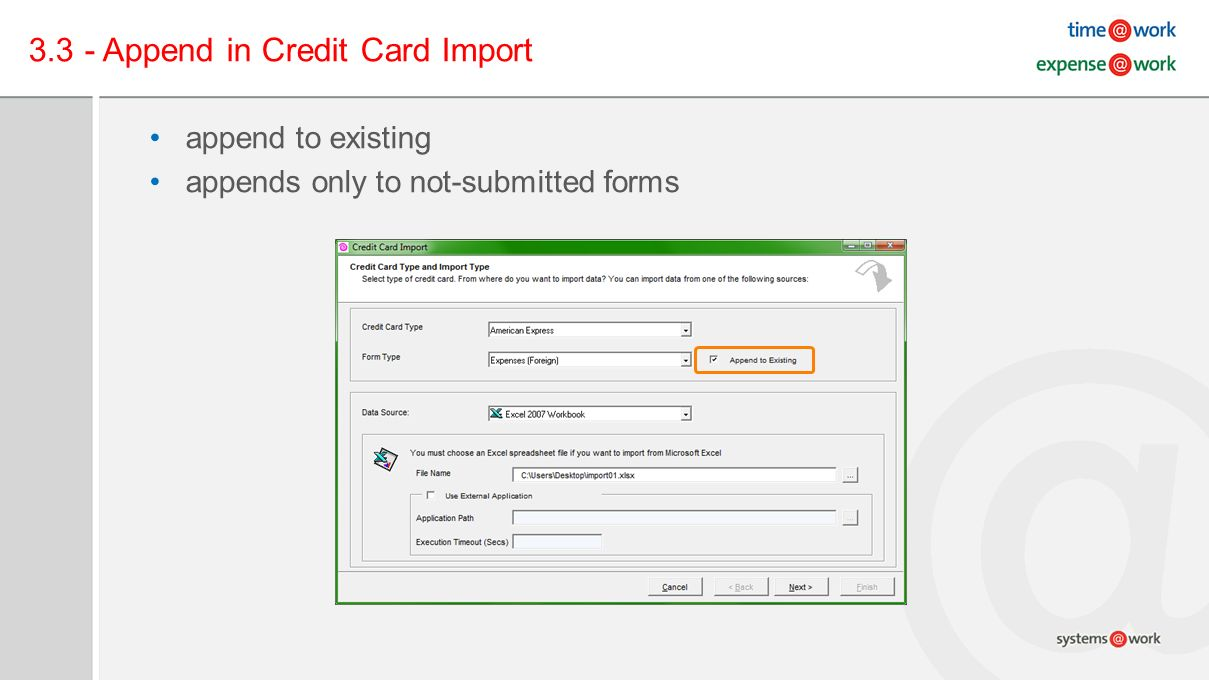 3.3 - Append in Credit Card Import append to existing appends only to not-submitted forms