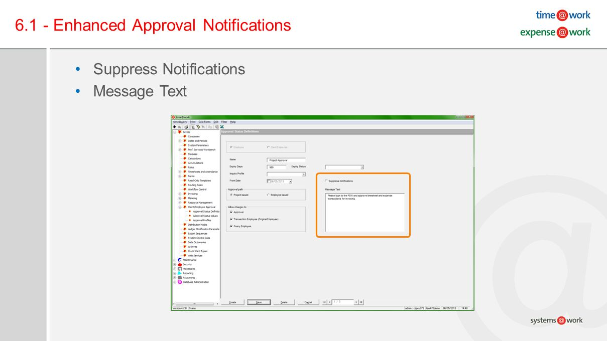 6.1 - Enhanced Approval Notifications Suppress Notifications Message Text