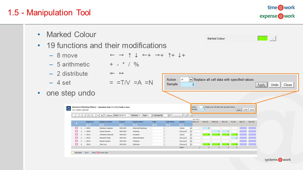 1.5 - Manipulation Tool Marked Colour 19 functions and their modifications –8 move + + + + –5 arithmetic+ - * / % –2 distribute –4 set= =T/V =A =N one step undo