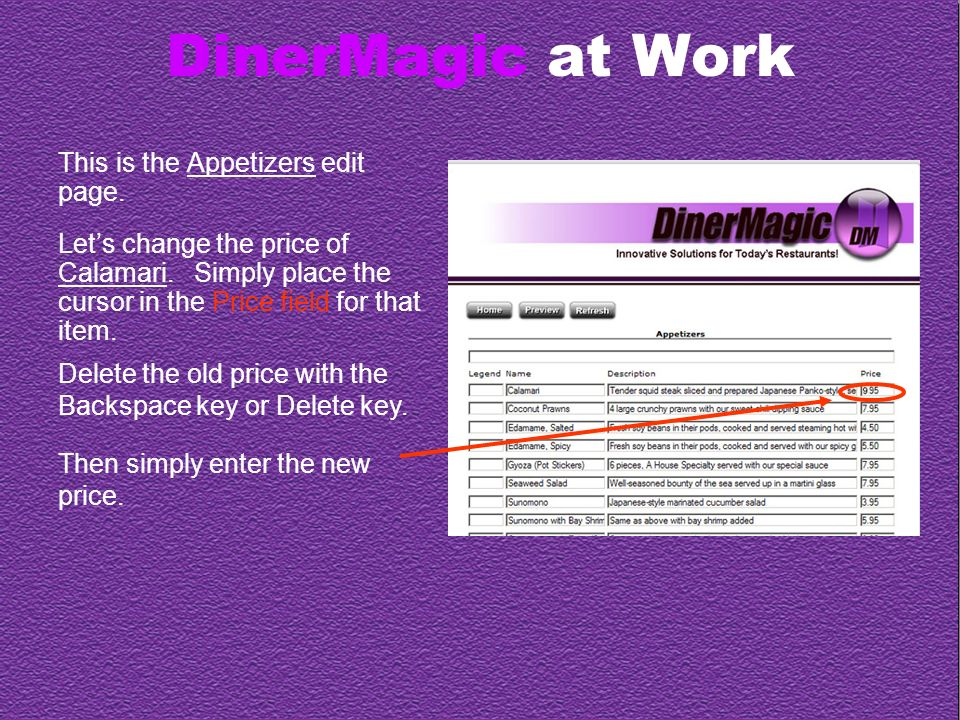DinerMagic at Work This is the Appetizers edit page.