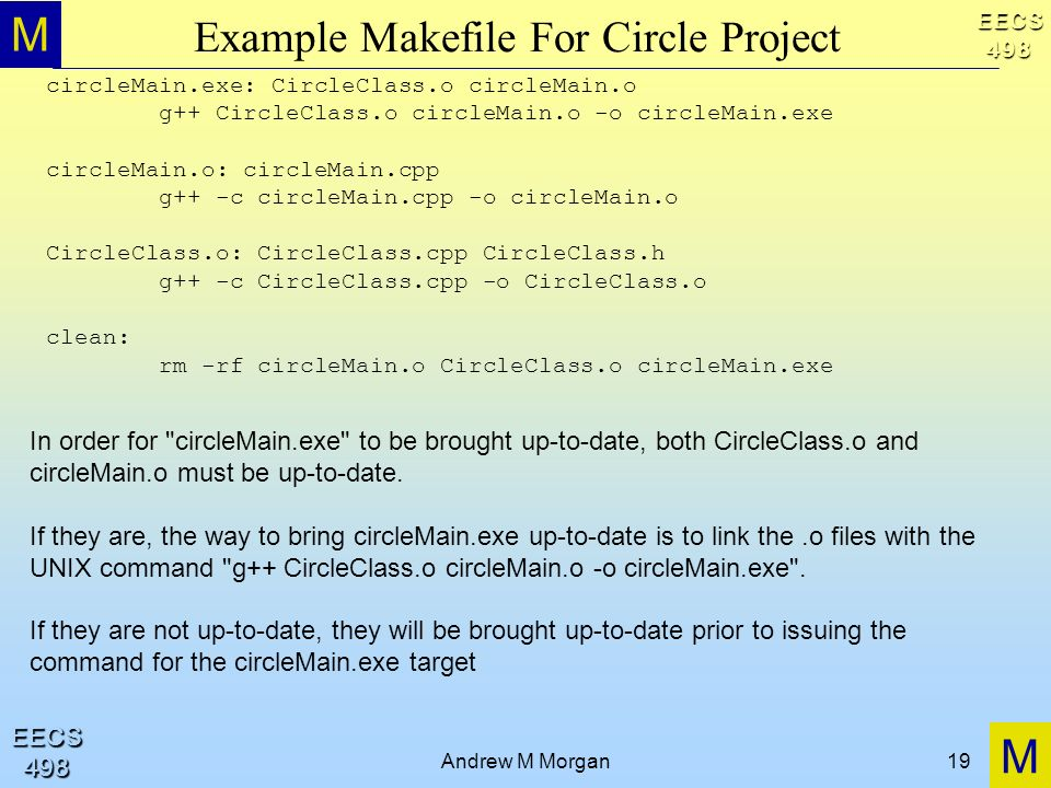 M M EECS498 EECS498 Andrew M Morgan19 Example Makefile For Circle Project circleMain.exe: CircleClass.o circleMain.o g++ CircleClass.o circleMain.o -o circleMain.exe circleMain.o: circleMain.cpp g++ -c circleMain.cpp -o circleMain.o CircleClass.o: CircleClass.cpp CircleClass.h g++ -c CircleClass.cpp -o CircleClass.o clean: rm -rf circleMain.o CircleClass.o circleMain.exe In order for circleMain.exe to be brought up-to-date, both CircleClass.o and circleMain.o must be up-to-date.