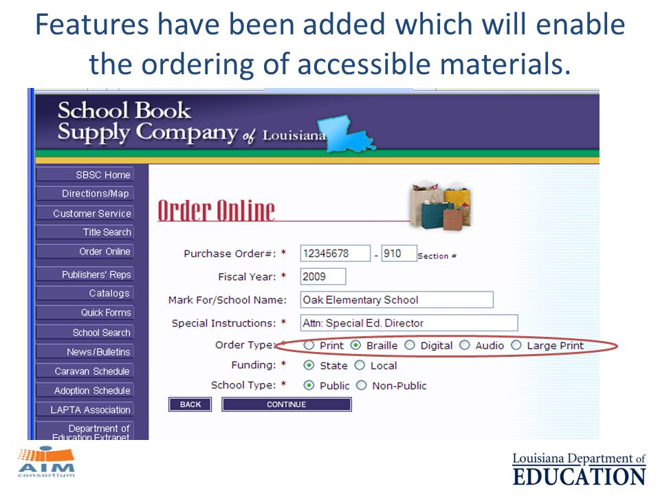 Features have been added which will enable the ordering of accessible materials.