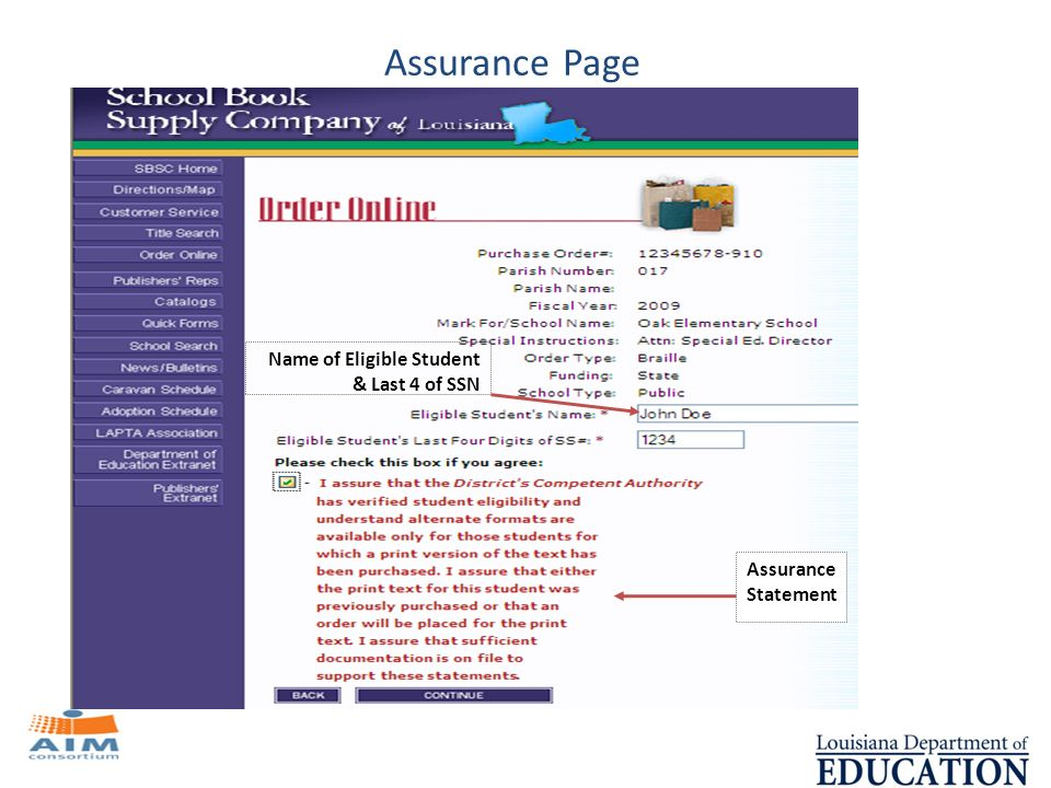 Name of Eligible Student & Last 4 of SSN Assurance Statement Assurance Page