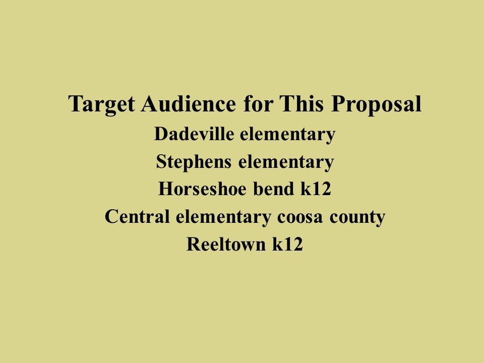Target Audience for This Proposal Dadeville elementary Stephens elementary Horseshoe bend k12 Central elementary coosa county Reeltown k12