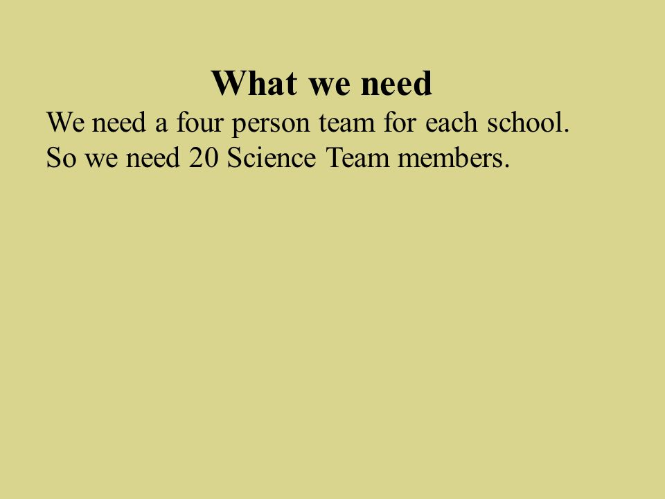 What we need We need a four person team for each school. So we need 20 Science Team members.