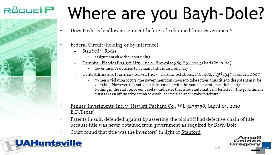Where are you Bayh-Dole. Does Bayh-Dole allow assignment before title obtained from Government.